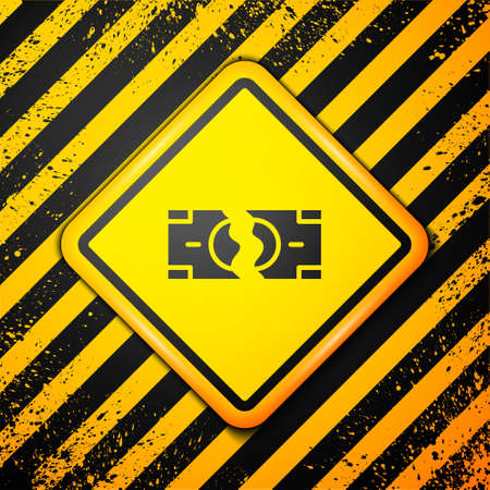 Black Tearing apart money banknote into two peaces icon isolated on yellow background. Warning sign. Vector