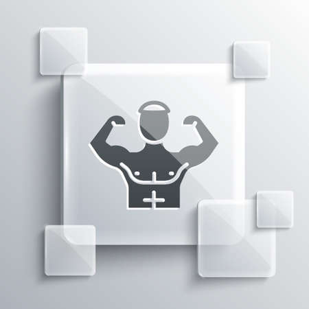 Grey Bodybuilder showing his muscles icon isolated on grey background. Fit fitness strength health hobby concept. Square glass panels. Vector