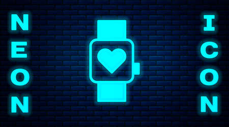 Glowing neon Smart watch showing heart beat rate icon isolated on brick wall background. Fitness App concept. Vector
