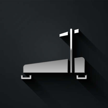 Silver Treadmill machine icon isolated on black background. Long shadow style. Vector 向量圖像