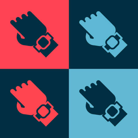 Pop art Smart watch on hand icon isolated on color background. Fitness App concept. Vector 向量圖像