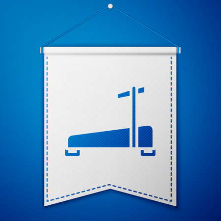 Blue Treadmill machine icon isolated on blue background. White pennant template. Vector 向量圖像