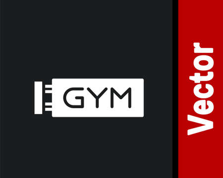 White Location gym icon isolated on black background. Vector