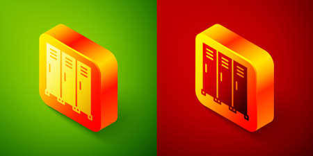 Isometric Locker or changing room for hockey, football, basketball team or workers icon isolated on green and red background. Square button. Vector
