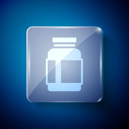 White Sports nutrition bodybuilding proteine power drink and food icon isolated on blue background. Square glass panels. Vector