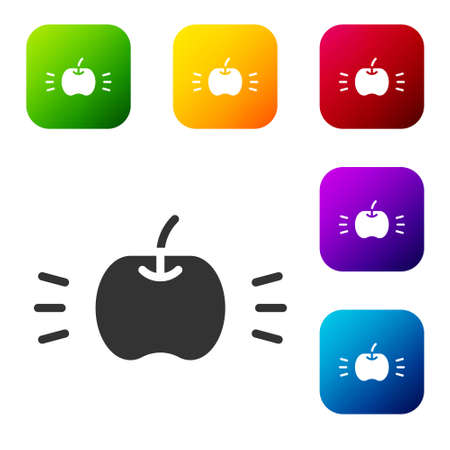 Black Apple icon isolated on white background. Fruit with leaf symbol. Set icons in color square buttons. Vector