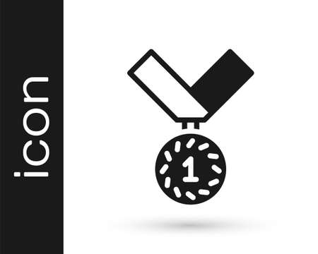 Black Medal icon isolated on white background. Winner symbol. Vector