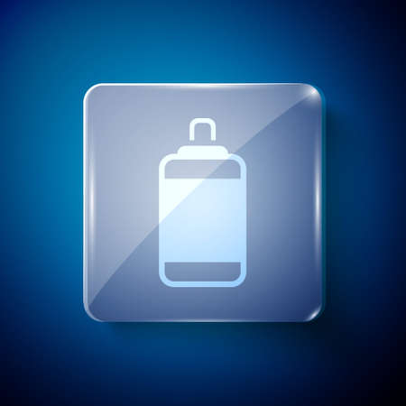 White Punching bag icon isolated on blue background. Square glass panels. Vector
