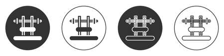 Black Bench with barbel icon isolated on white background. Gym equipment. Bodybuilding, powerlifting, fitness concept. Circle button. Vector