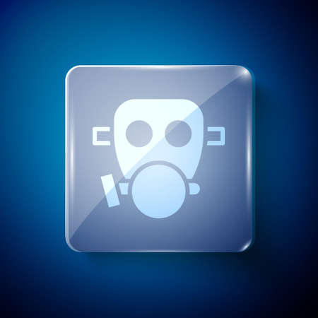 White Gas mask icon isolated on blue background. Respirator sign. Square glass panels. Vector