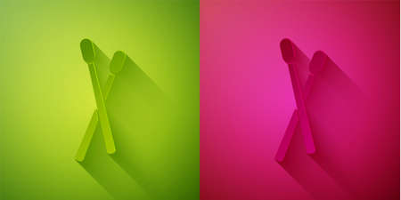 Paper cut Drum sticks icon isolated on green and pink background. Musical instrument. Paper art style. Vector