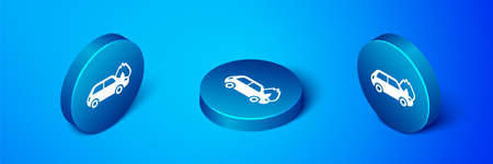 Isometric Burning car icon isolated on blue background. Car on fire. Broken auto covered with fire and smoke. Blue circle button. Vector