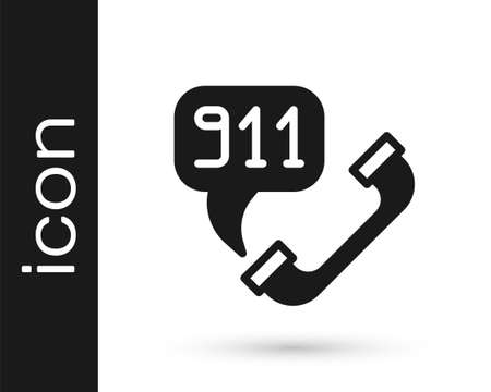 Black Telephone with emergency call 911 icon isolated on white background. Police, ambulance, fire department, call, phone. Vector 向量圖像