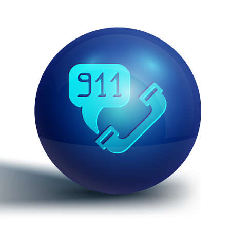 Blue Telephone with emergency call 911 icon isolated on white background. Police, ambulance, fire department, call, phone. Blue circle button. Vector 向量圖像