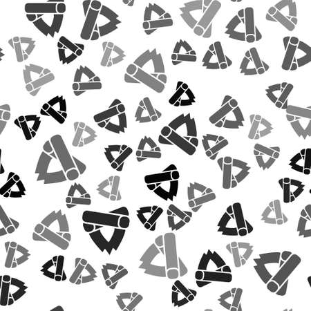 Black Campfire icon isolated seamless pattern on white background. Burning bonfire with wood. Vector