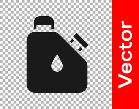 Black Canister for flammable liquids icon isolated on transparent background. Oil or biofuel, explosive chemicals, dangerous substances. Vector Stock Illustratie