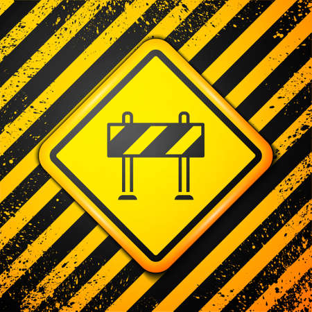 Black Road barrier icon isolated on yellow background. Symbol of restricted area which are in under construction processes. Repair works. Warning sign. Vector