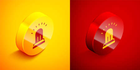 Isometric Ringing alarm bell icon isolated on orange and red background. Fire alarm system. Service bell, handbell sign, notification symbol. Circle button. Vector