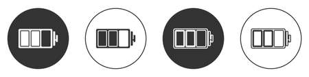 Black Battery charge level indicator icon isolated on white background. Circle button. Vector