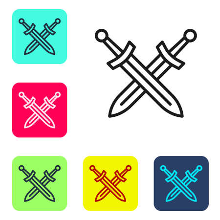 Black line Crossed medieval sword icon isolated on white background. Medieval weapon.