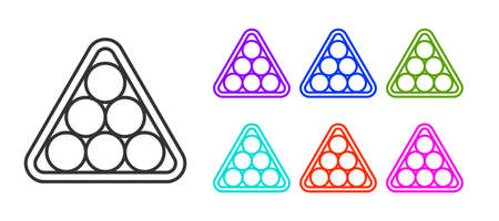 Black line Billiard balls in a rack triangle icon isolated on white background. Set icons colorful. Vector 向量圖像