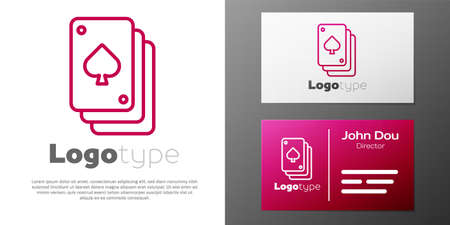 Logotype line Playing cards icon isolated on white background. Casino gambling. Logo design template element.