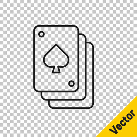 Black line Playing cards icon isolated on transparent background. Casino gambling. 向量圖像