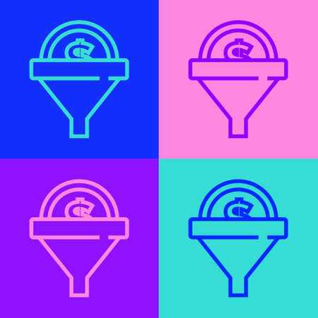 Pop art line Lead management icon isolated on color background. Funnel with money. Target client business concept. Vector