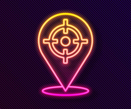 Glowing neon line Target sport icon isolated on black background. Clean target with numbers for shooting range or shooting. Vector