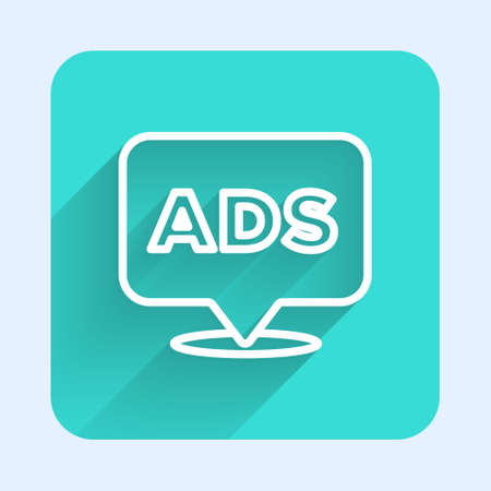 White line Advertising icon isolated with long shadow. Concept of marketing and promotion process. Responsive ads. Social media advertising. Green square button. Vector  イラスト・ベクター素材