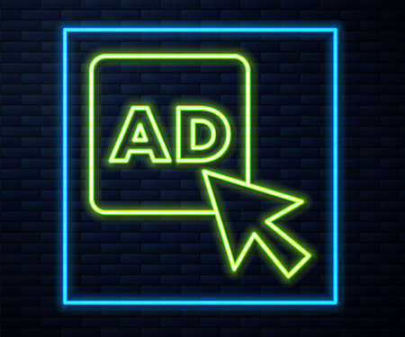 Glowing neon line Advertising icon isolated on brick wall background. Concept of marketing and promotion process. Responsive ads. Social media advertising. Vector  イラスト・ベクター素材