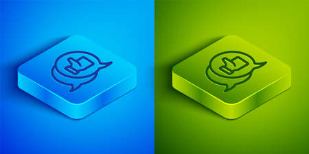 Isometric line Consumer or customer product rating icon isolated on blue and green background. Square button. Vector