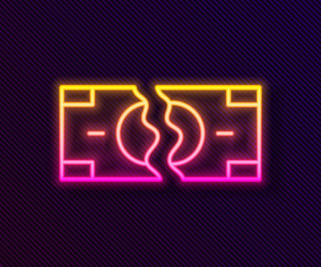 Glowing neon line Tearing apart money banknote into two peaces icon isolated on black background.