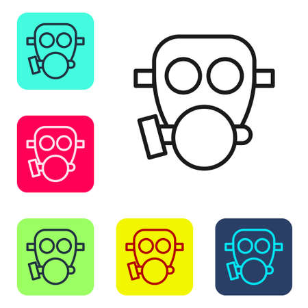Black line Gas mask icon isolated on white background. Respirator sign. Set icons in color square buttons. Vector 向量圖像