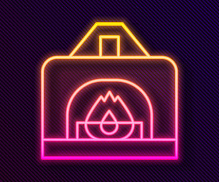 Glowing neon line Interior fireplace icon isolated on black background.