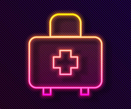 Glowing neon line First aid kit icon isolated on black background. Medical box with cross. Medical equipment for emergency. Healthcare concept. Vector