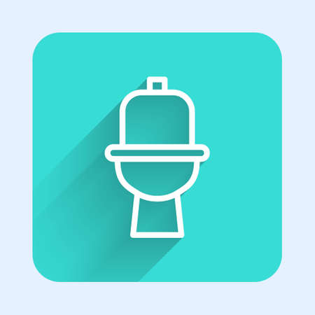 White line Toilet bowl icon isolated with long shadow. Green square button. Vector 向量圖像