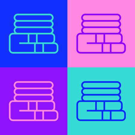 Pop art line Towel stack icon isolated on color background. Vector