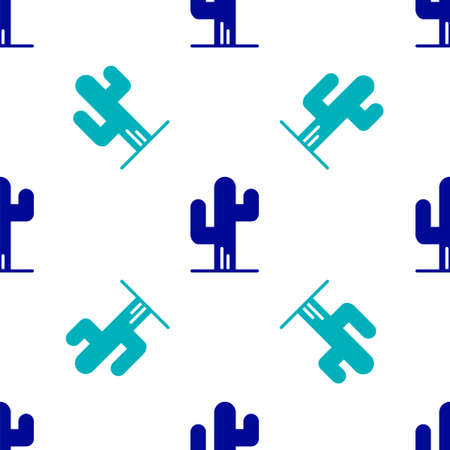 Blue Cactus icon isolated seamless pattern on white background. Vector