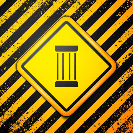 Black Ancient column icon isolated on yellow background. Warning sign. Vector