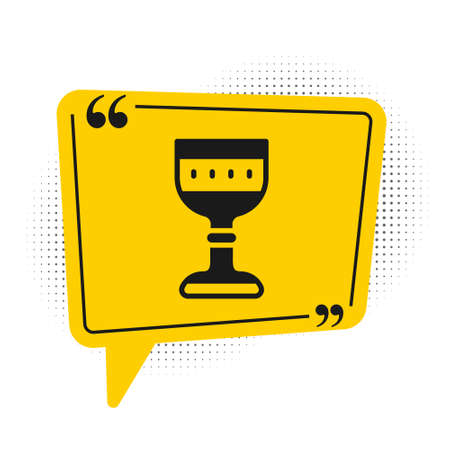Black Medieval goblet icon isolated on white background. Yellow speech bubble symbol. Vector