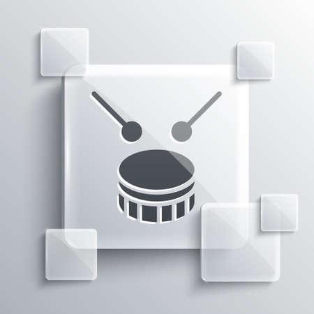 Grey Drum with drum sticks icon isolated on grey background. Music sign. Musical instrument symbol. Square glass panels. Vector