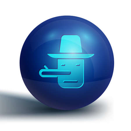 Blue Pinocchio icon isolated on white background. Blue circle button. Vector Ilustrace