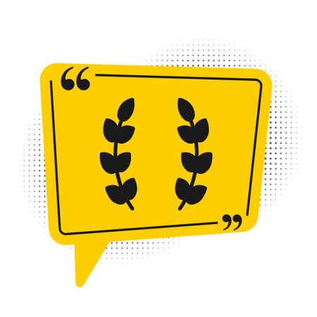Black Laurel wreath icon isolated on white background. Triumph symbol. Yellow speech bubble symbol. Vector 向量圖像