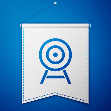 Blue Target with arrow icon isolated on blue background. Dart board sign. Archery board icon. Dartboard sign. Business goal concept. White pennant template. Vector