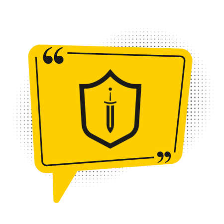 Black Medieval shield with sword icon isolated on white background. Yellow speech bubble symbol. Vector 向量圖像