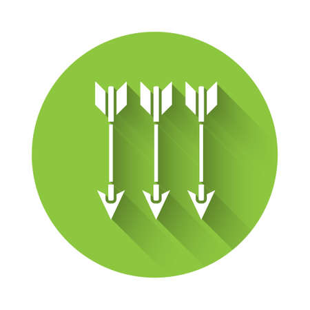 White Crossed arrows icon isolated with long shadow. Green circle button. Vector