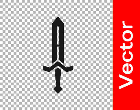 Black Medieval sword icon isolated on transparent background. Medieval weapon. Vector 矢量图像