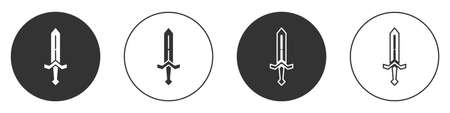 Black Medieval sword icon isolated on white background. Medieval weapon. Circle button. Vector