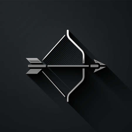 Silver Medieval bow and arrow icon isolated on black background. Medieval weapon. Long shadow style. Vector